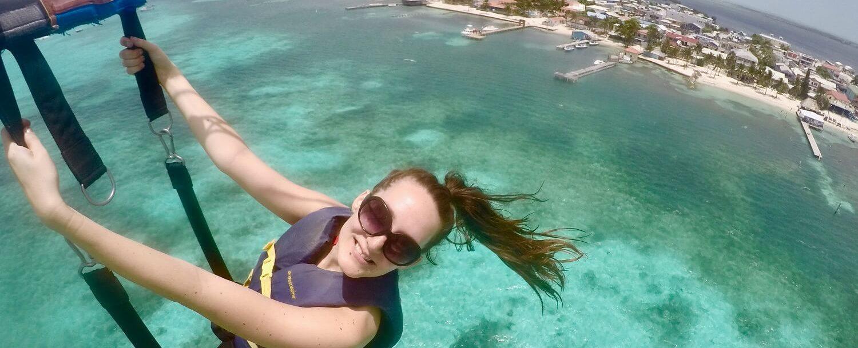Parasailing over Belize Barrier Reef