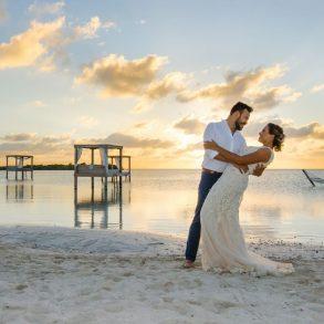 Bride and groom at Mahogany Bay Resort