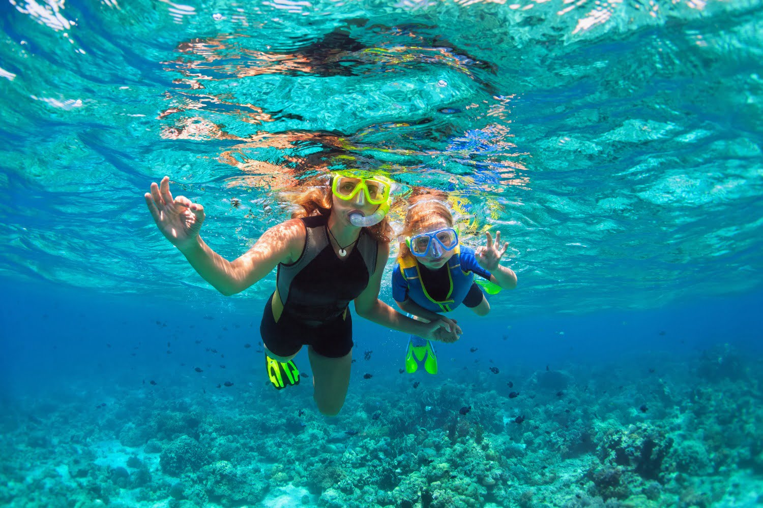 Mother and Child snorkeling