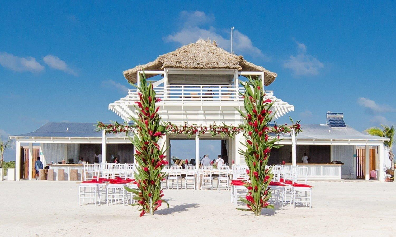 beach club wedding setup