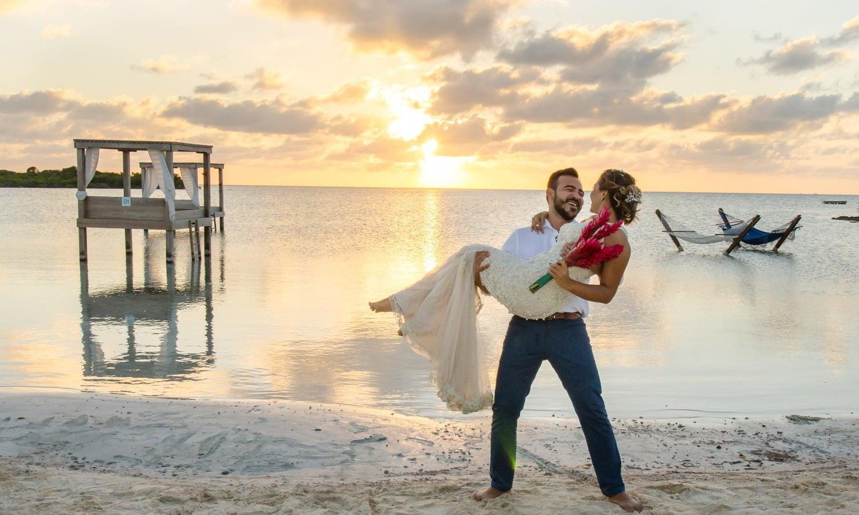 beach club sunset wedding