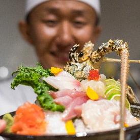 Toshiya with sushi platter