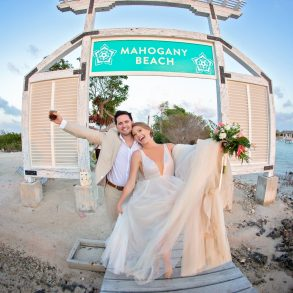 bride and groom at beach club